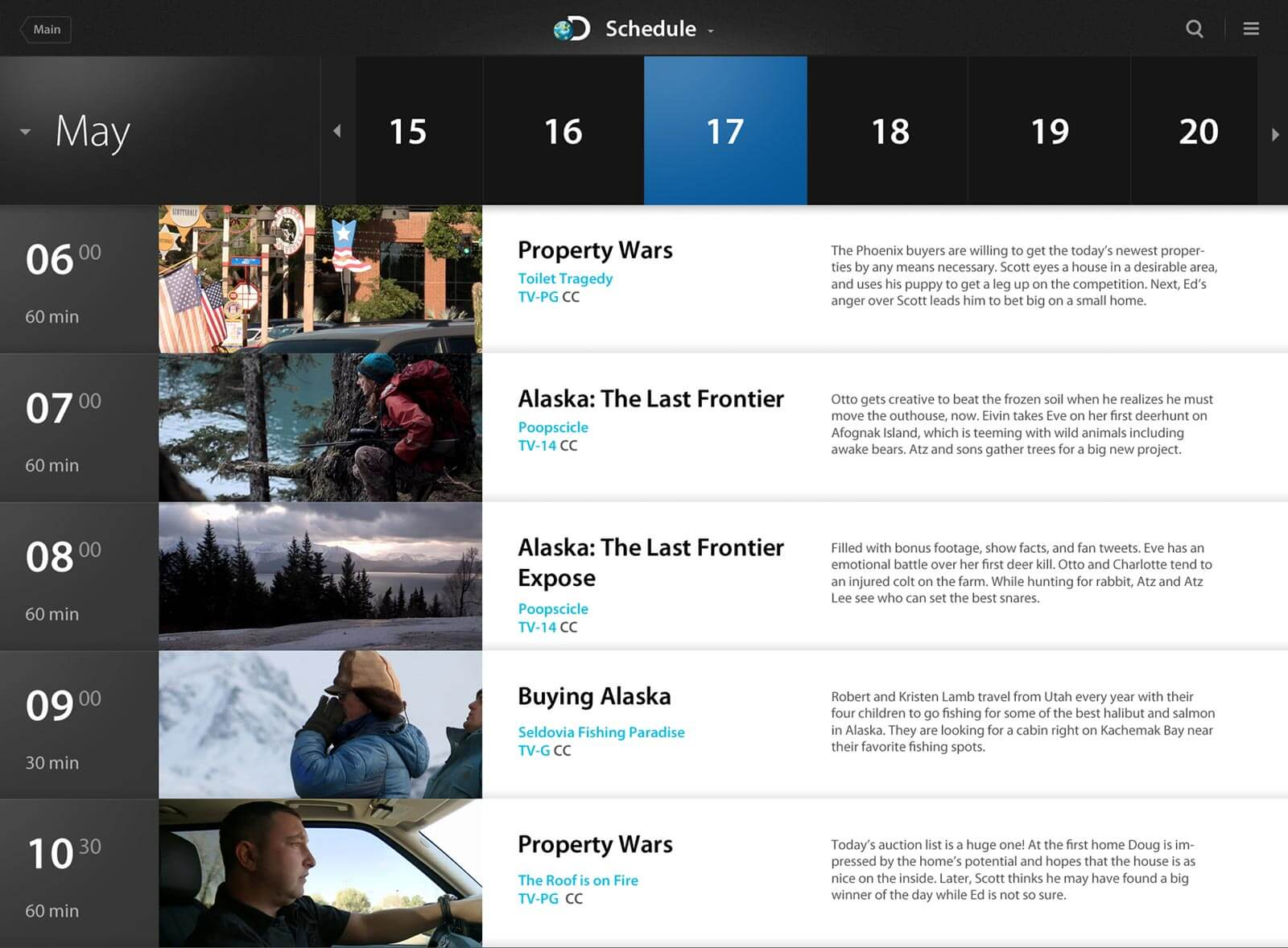 An alternative TV schedule screen for Discovery Channel iPad application