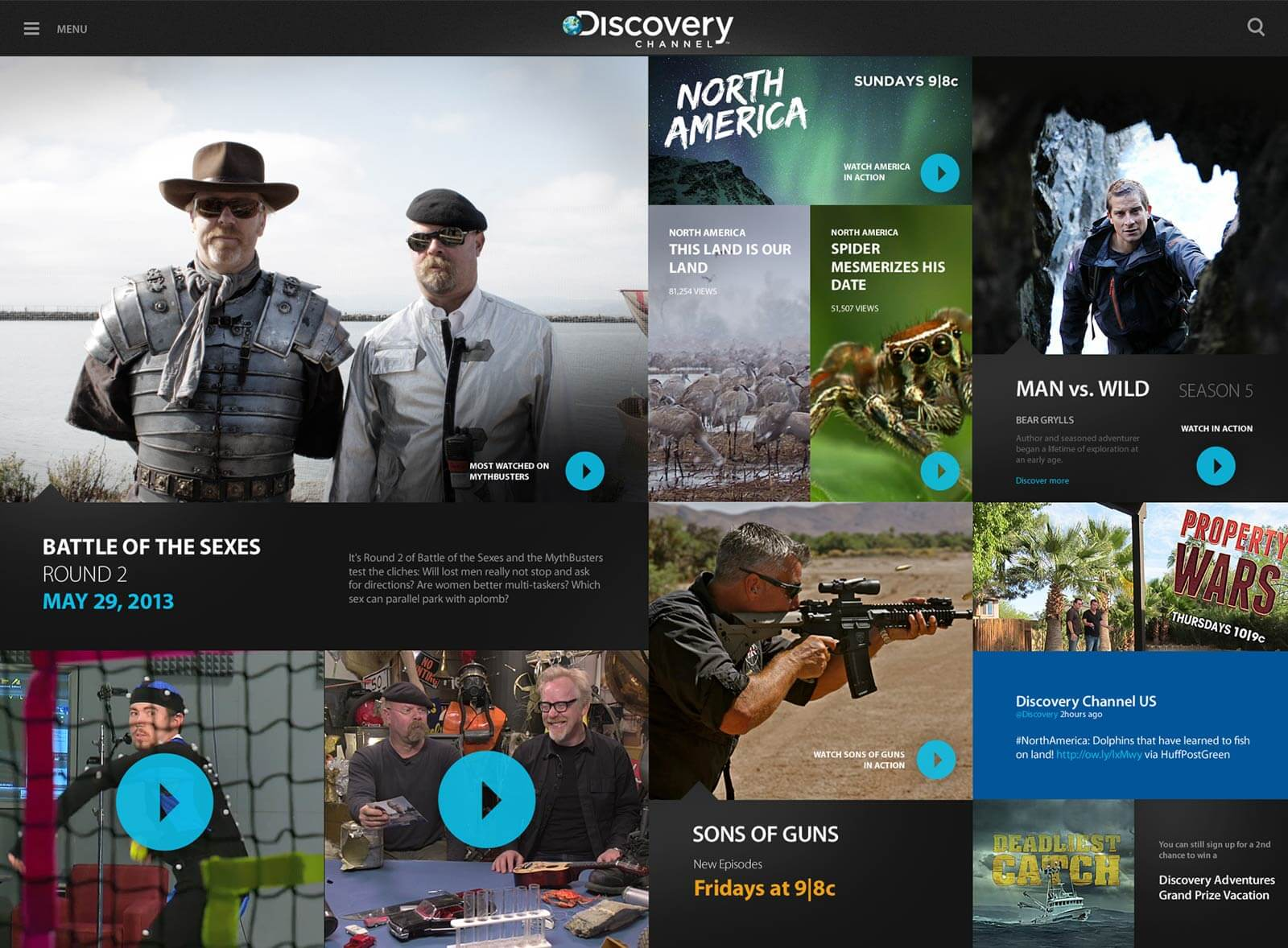 Discovery channel iPad dashboard screen